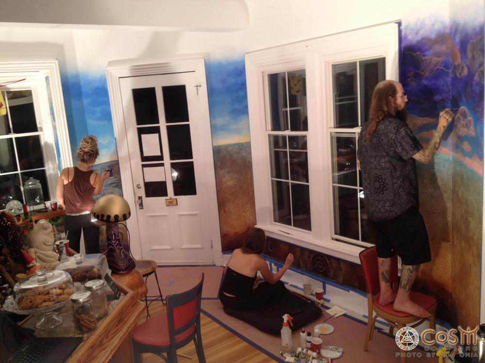 amanda-sage-aloria-weaver-david-heskin-painting-mushroom-cafe