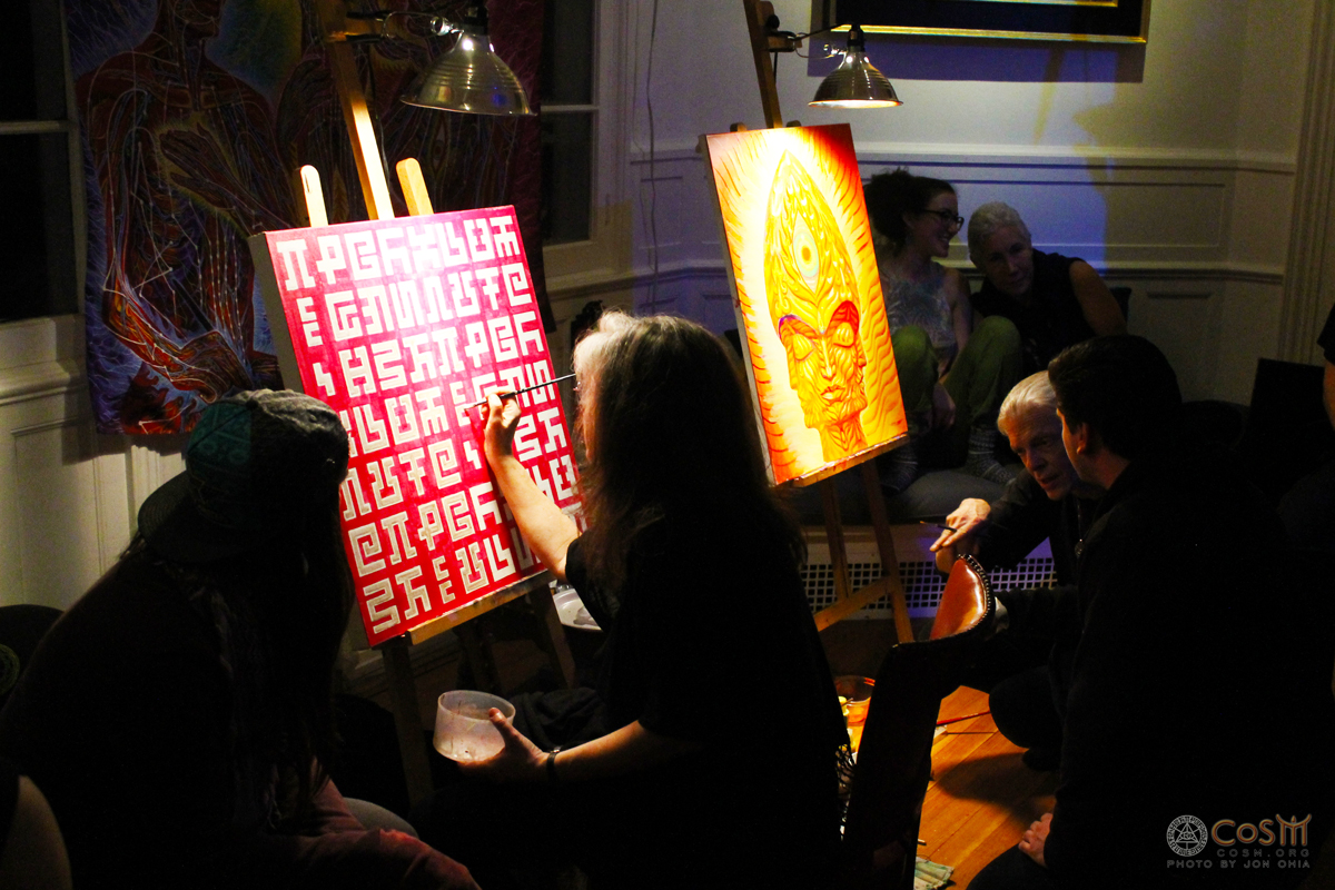 alex-grey-allyson-grey-live-painting-cosm-winter-solstice-celestial-celebration-2014-entheon-steeple-head-secret-writing